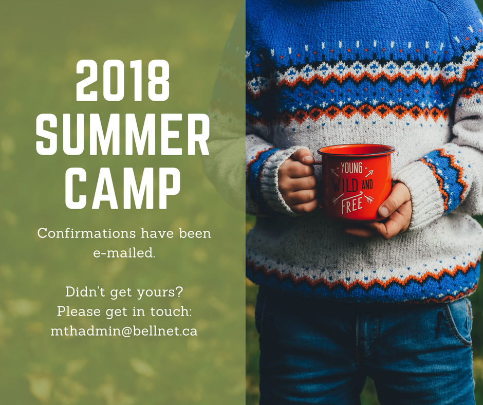 2018 Summer Camp Confirmations
